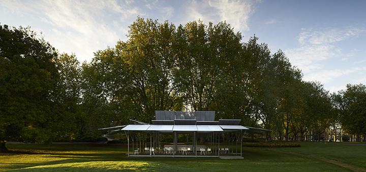MPavilion 2014 designed by Sean Godsell Architects. Photo by Earl Carter.