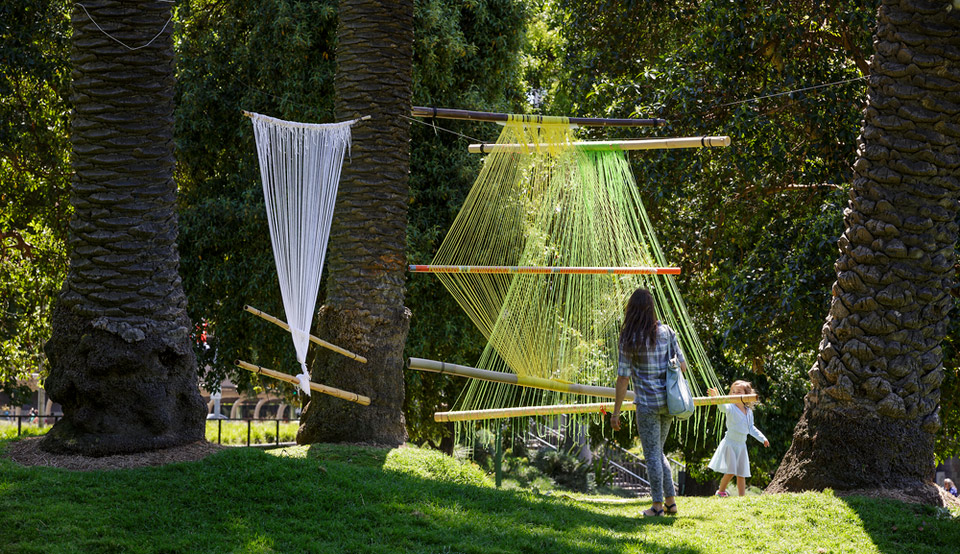 Slow Art Collective's 'Leaf House Music' installation, MPavilion 2014. Photo by Jeremy Weihrauch.
